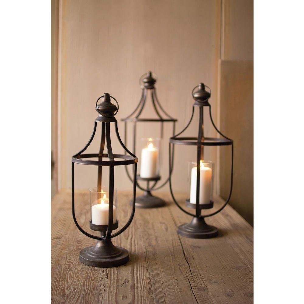 Kalalou Set Of Three Metal Lanterns With Glass Insert Metal Lanterns Candle Holders Glass Lantern