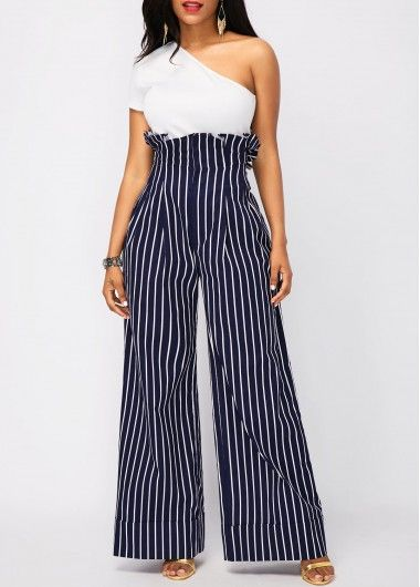 44d4d7bcc12 White Top and High Waist Stripe Print Pants on sale only US 37.26 ...