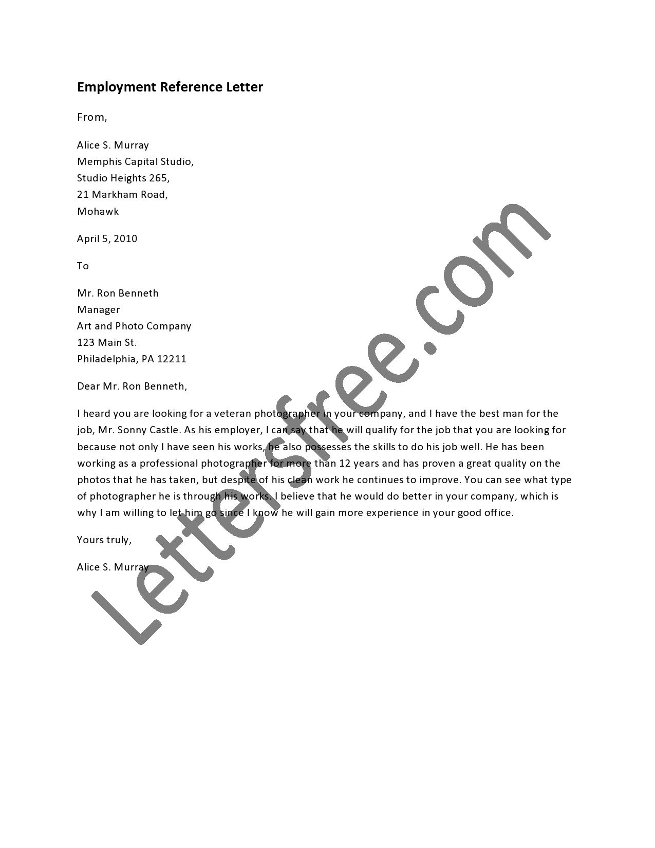 A reference letter is a professional letter written by a previous 12 sample letter of reference for employment super letter word aljukfo Choice Image