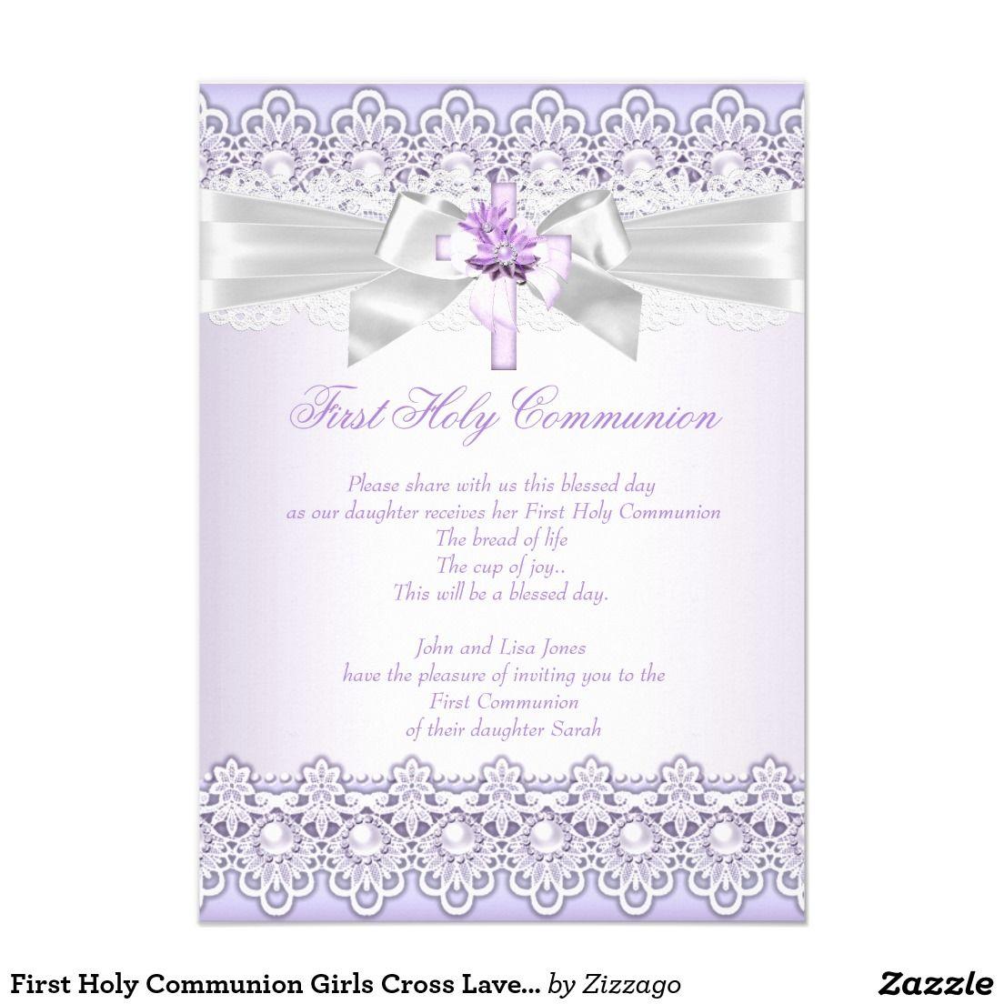 First Holy Communion Girls Cross Lavender Purple Invitation ...