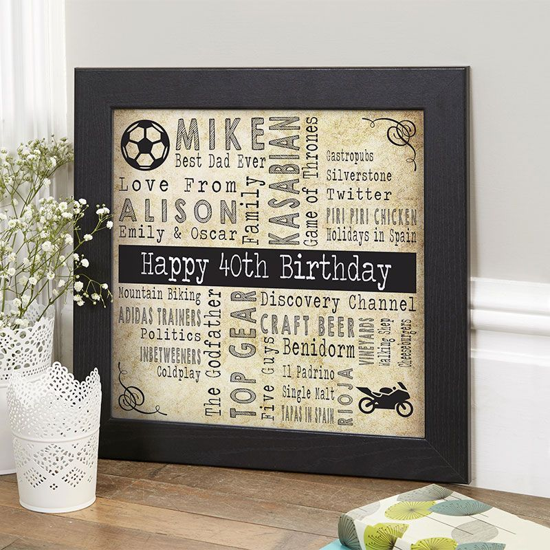 40th Birthday Gift For Him Of Favourite Things With