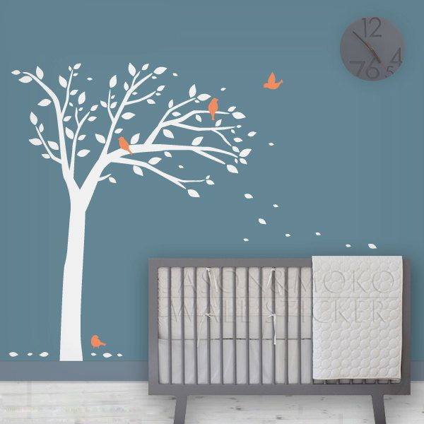 oiseau arbre d calque de mur enfants stickers muraux b b p pini re moderne art mural 160 210cm. Black Bedroom Furniture Sets. Home Design Ideas