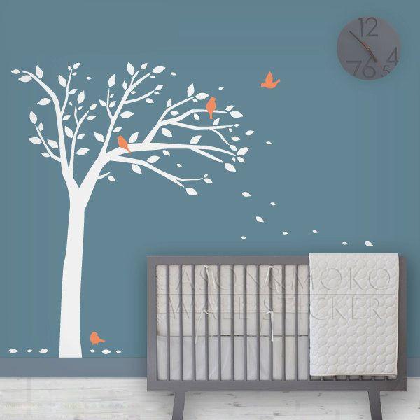 Oiseau arbre d calque de mur enfants stickers muraux b b for Stickers arbre chambre bebe