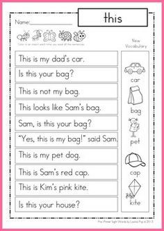 Printables Primer Sight Word Worksheets sight word worksheets simple sentences and words on pinterest