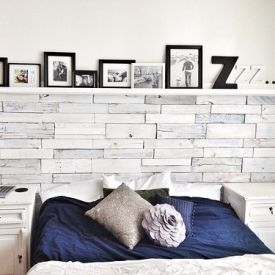 pallet wood wall whitewash. master bedroom with a white washed wood pallet wall and easy ana shelf whitewash e