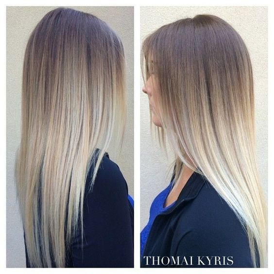 Gorgeous Grey Ombre Hair , Straight Long Hairstyles for Girl