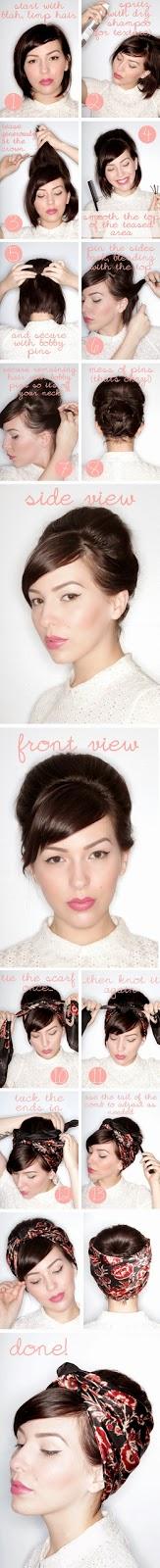 La méthode du chignon sur cheveux court avec une foulard ...