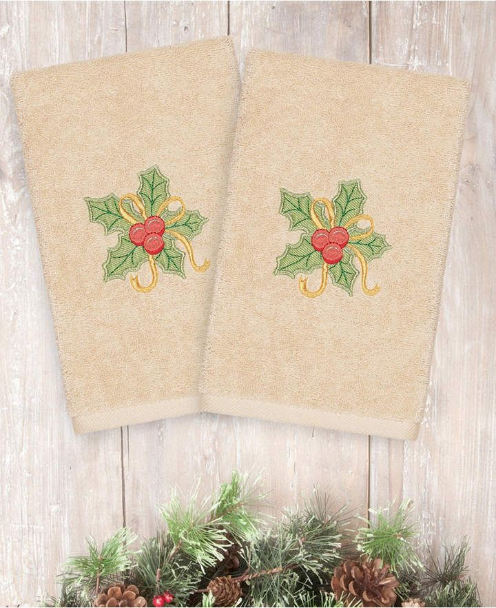Linum Home Christmas Holly Bunch 100 Turkish Cotton Hand Towel
