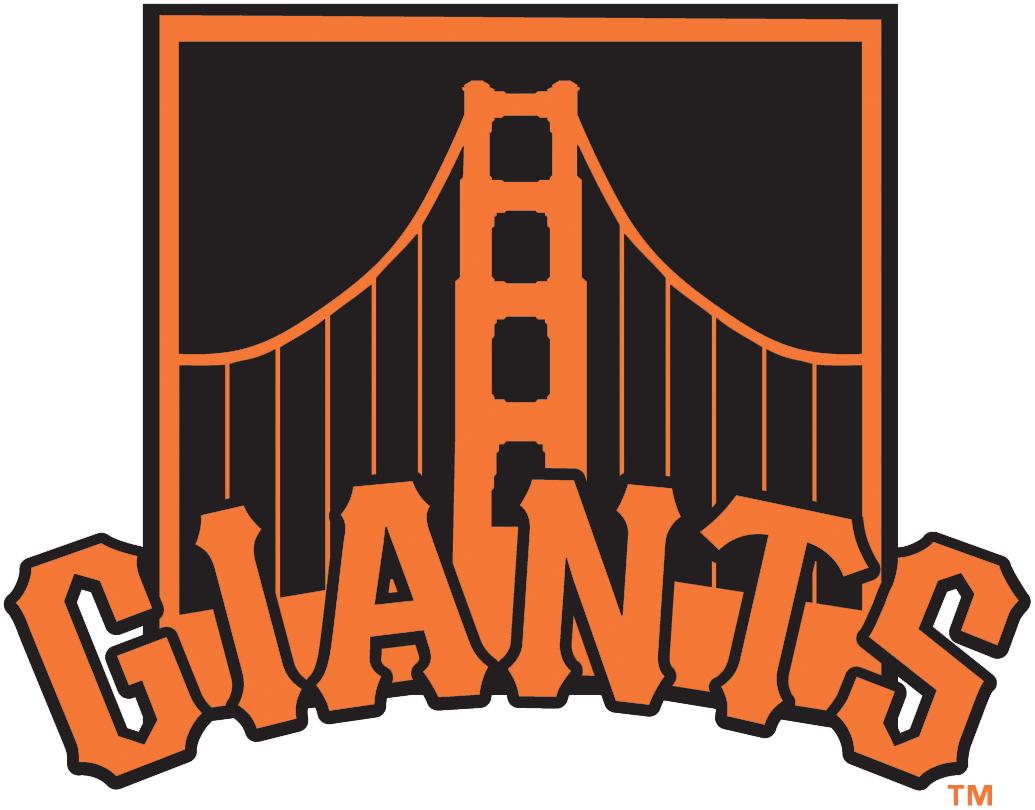 San Francisco Giants Alternate Logo 2015 Span Of The Golden Gate Bridge In Orange On Black Rectang San Francisco Giants Logo San Francisco Giants Sf Giants
