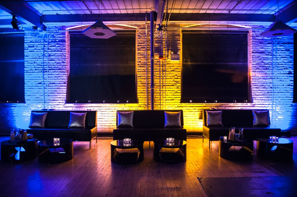 2nd Floor Events - Lounge Area with blue and yellow uplighting http://www.fusion-events.ca/
