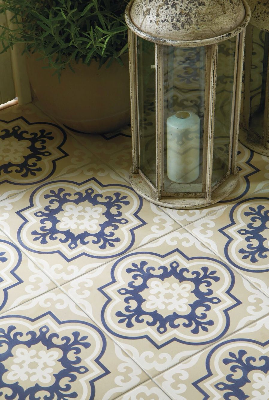 Vogue blue patterned floor tiles from the odyssey collection by original style available at welby wright tres chic