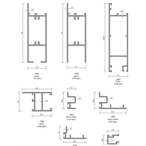 Aluminum Sliding Door Profile 프로파일