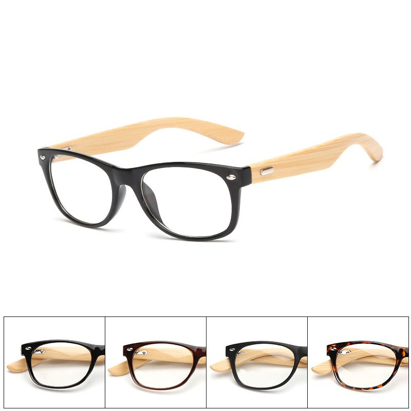 Click to Buy << Spectacle Bamboo Square Glasses Frame Retro Men ...