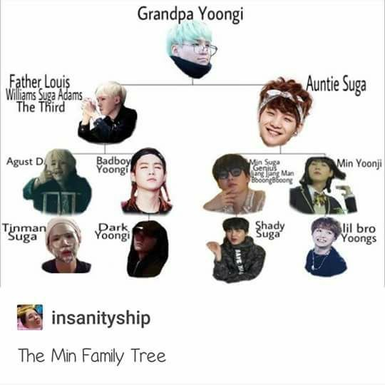 Are You Telling Me That Through 11 Yoongis There Is A Family Tree Of Three Generations Bc I Agree Bts Funny Bts Memes Hilarious Bts Suga