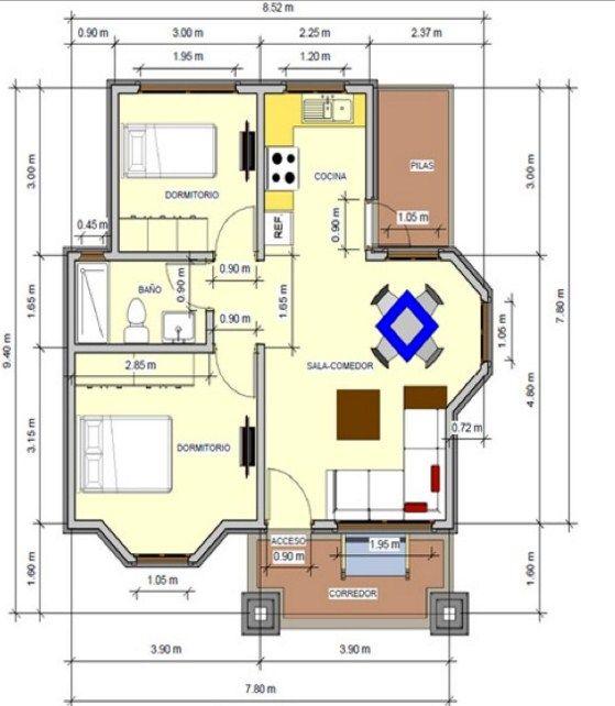 Plano de casas de 2 dormitorios con medidas en metros for Planos de casas con medidas