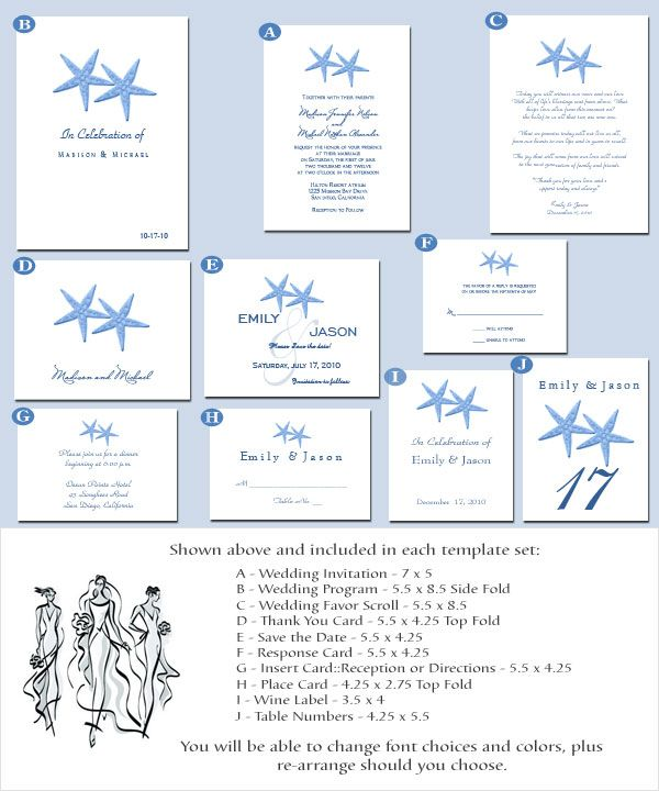 Beach Theme Wedding Invitation Printable Set Wedding Ideas - Wedding invitation templates: wedding place card size