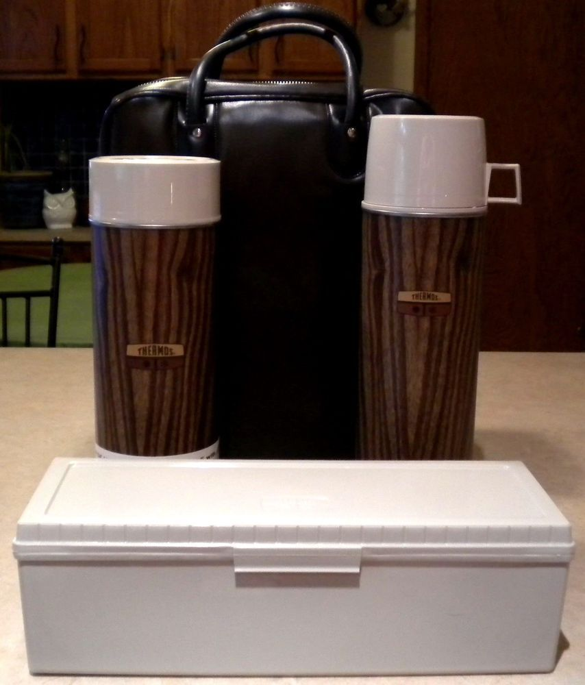 Vintage THERMOS 3 Piece Wood Panel Lunch Kit Vinyl Case Picnic NOS Mid Century