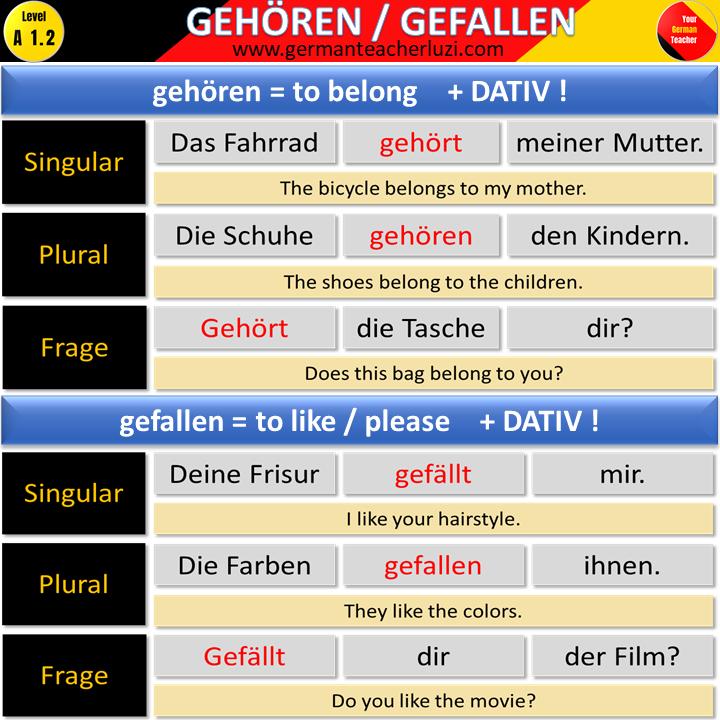 Gehoren Gefallen German Language Learning Learn German Japanese Language Learning
