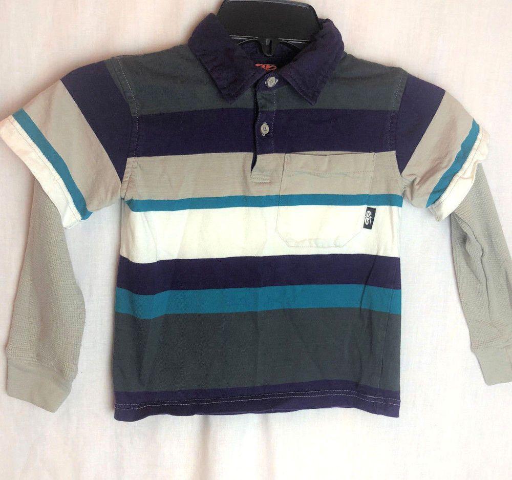 d0166d3f Nike 6.0 Boys Long Sleeve Shirt Size 5 Stripe Gray Purple Layered #Nike  #EverydayHoliday