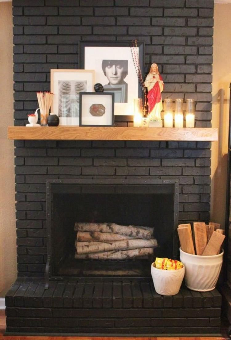 80+ Modern Rustic Painted Brick Fireplaces Inspirations