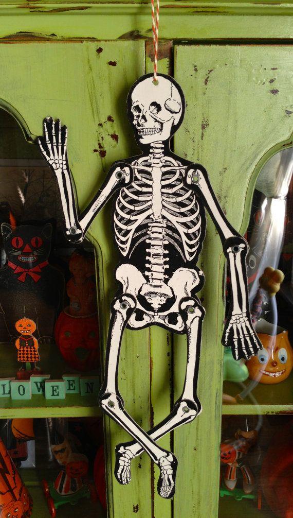 Vintage Halloween Articulated Dancing Skeleton Decoration 1950s Made In USA Mr Bones