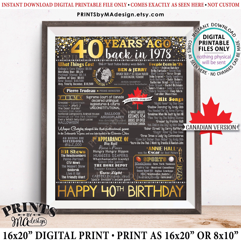 40th birthday gift born in canada in 1978 birthday
