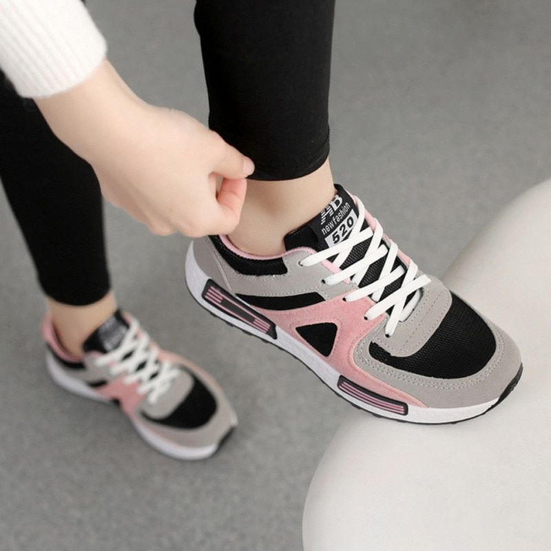 473fcd8f99 2019 Women Vulcanized Shoes Breathable Pink Sneakers Women Casual Shoes  Platform Sneakers Women Trainers Lace Up Basket Femme