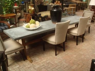 10 L Rectangular Zinc Top Dining Table With Reclaimed Triple Oak