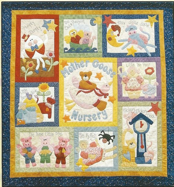 10 Applique Nursery Rhyme Patterns Mother By Crinolinerose Nursery Quilt Quilt Patterns Quilts