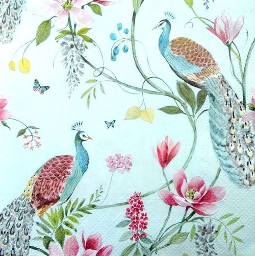 4 Single Vintage Table Paper Napkins for Decoupage Lunch Decopatch Light Feather