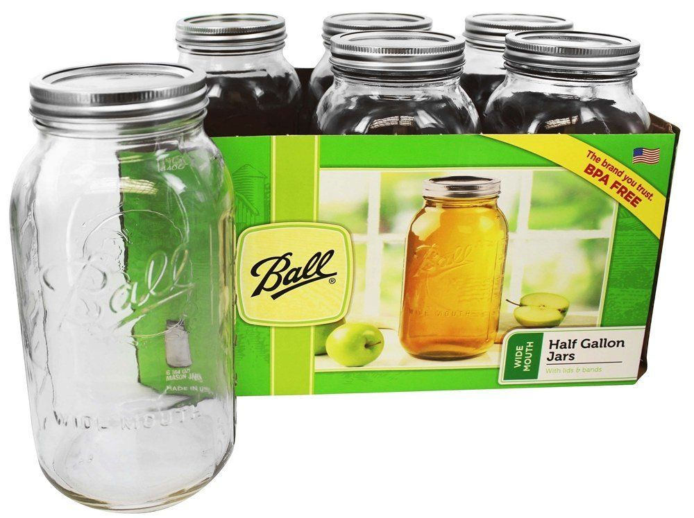64Oz Pack Of 6 Half Gallon Clear Glass Jar Ball Wide Mouth Canning Mason Jars
