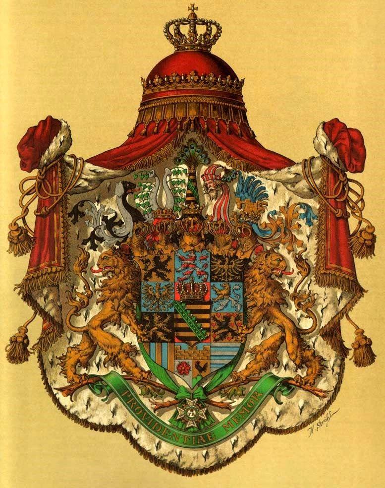 """Kingdom of Saxony, great arms, """"Deutsche Wappenrolle,Wappen von Deutschen Reiches und seiner Bundesstaaten"""" by Hugo Gerhard Ströhl, 1897."""