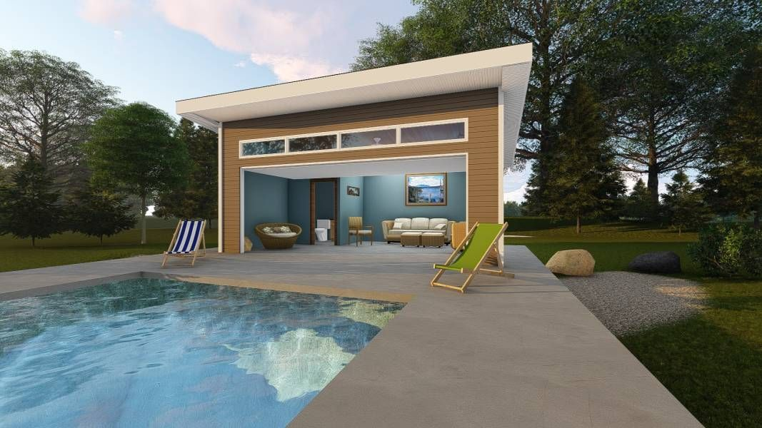 This Contemporary Pool House Design Is Great For All Outdoor Seekers The Raburn Plan Sits Under A Low Pitched R In 2020 Pool House Designs Pool House Plans Pool House,Island Elegant Kitchen Designs