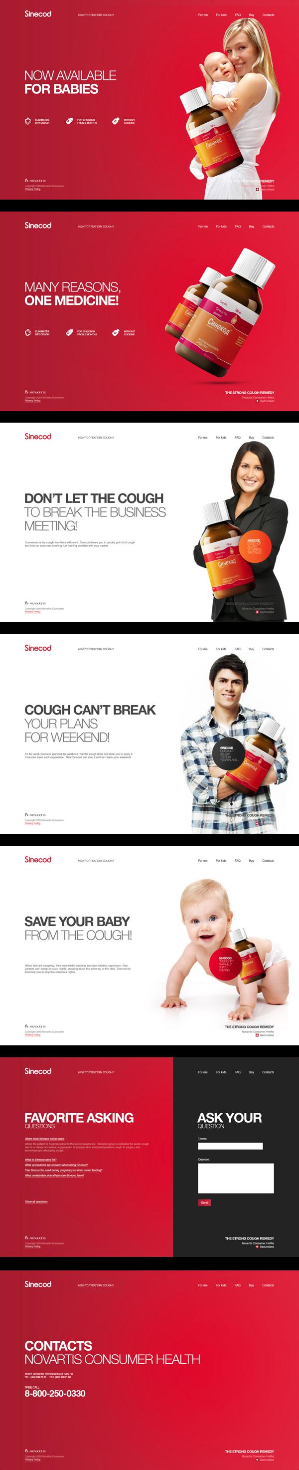 Website Concept for Novartis Sinecod Cough Syrup by Dliniy , via Behance