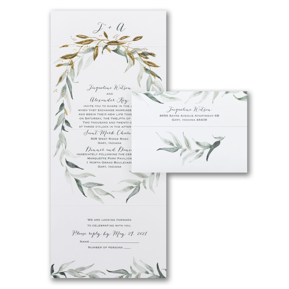 Wedding Invitations Greenery Inspirational Natural Union Seal N Send Floral Invitations Di 2020