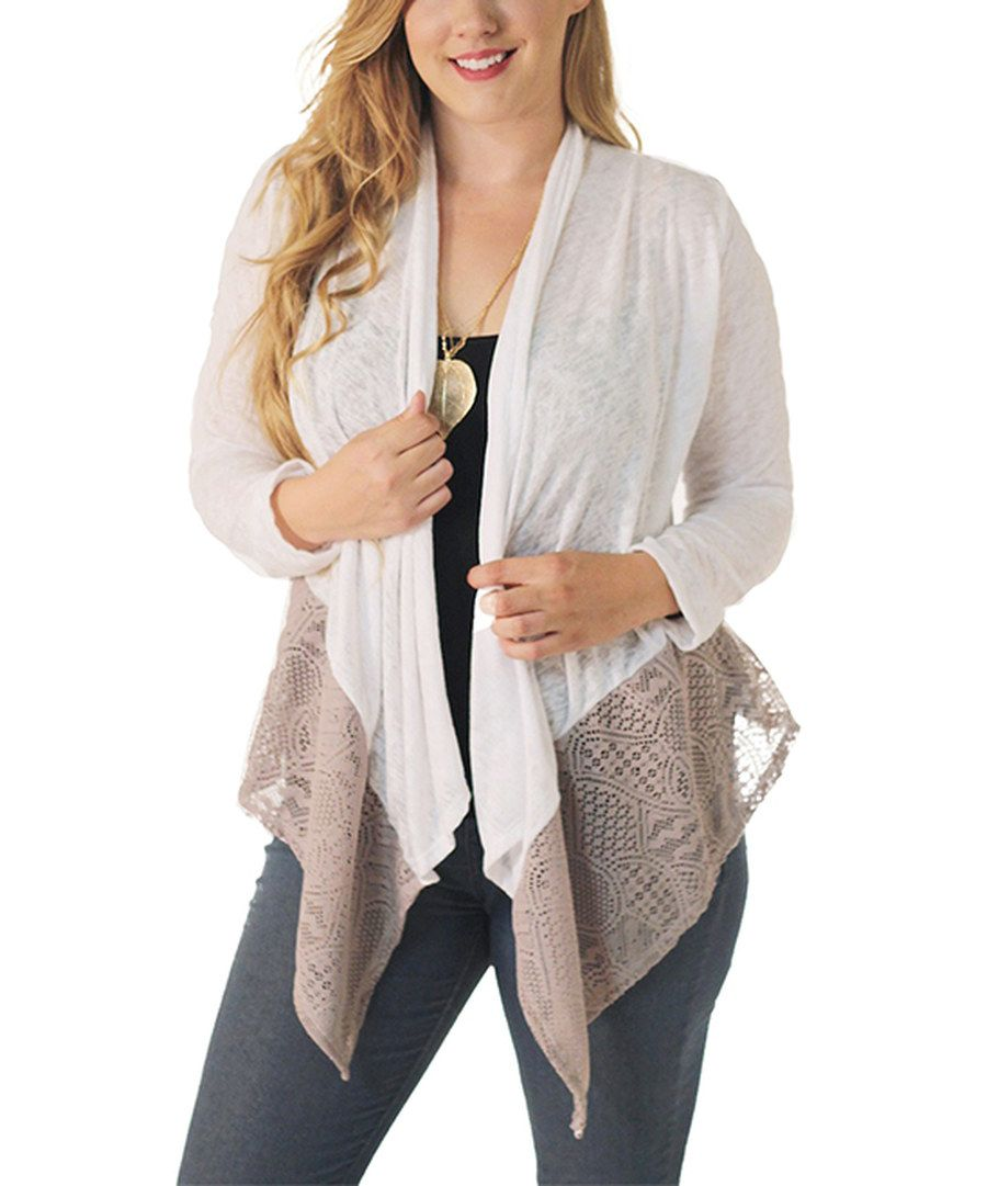 Look at this White Lace-Hem Open Cardigan - Plus on #zulily today!