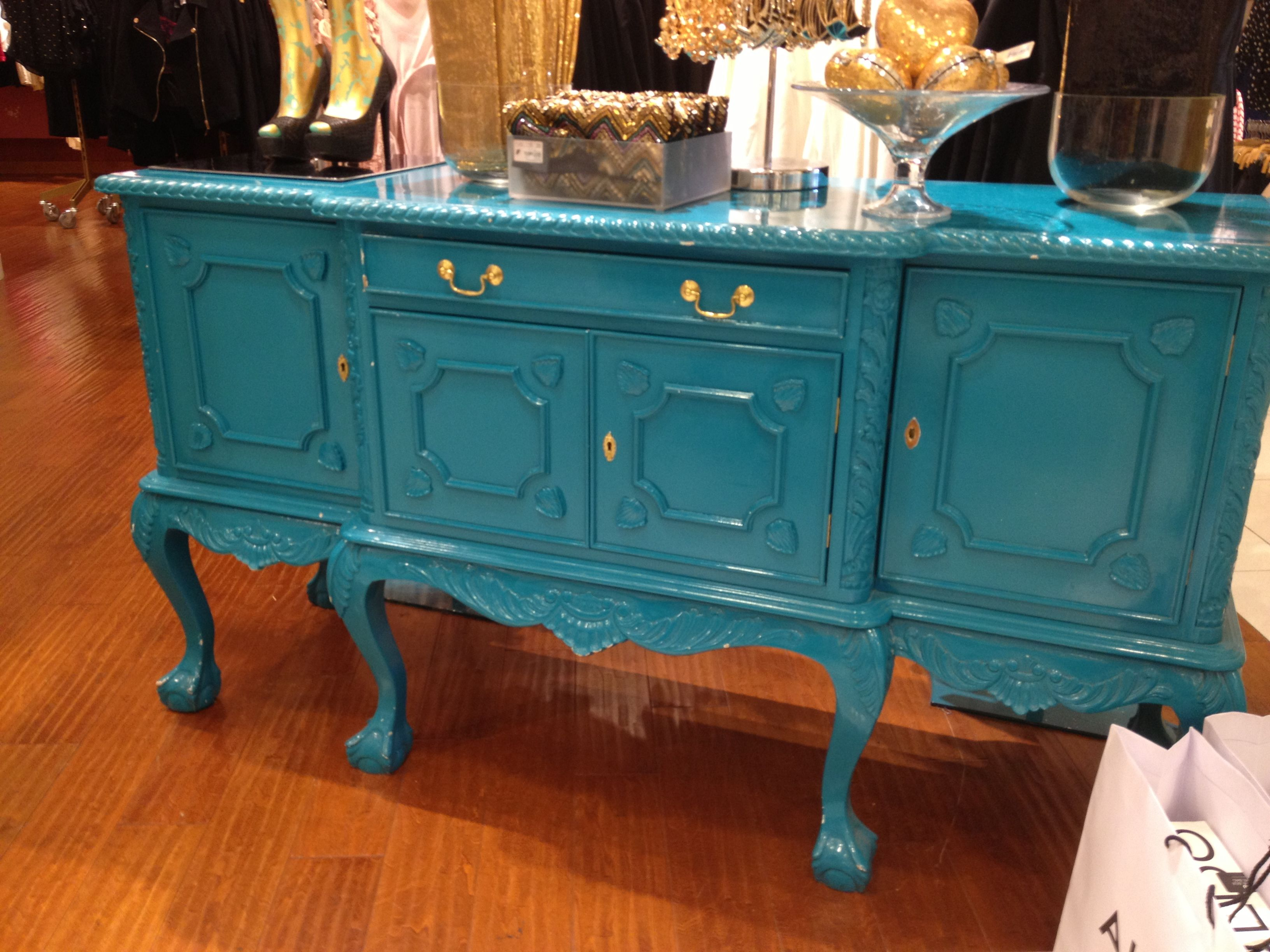 Painted buffet table furniture - Turquoise Buffet Table The Color Not Really The Style