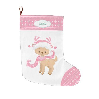 Pink Pattern Santa Deer with Scarf Large Christmas Stocking ...