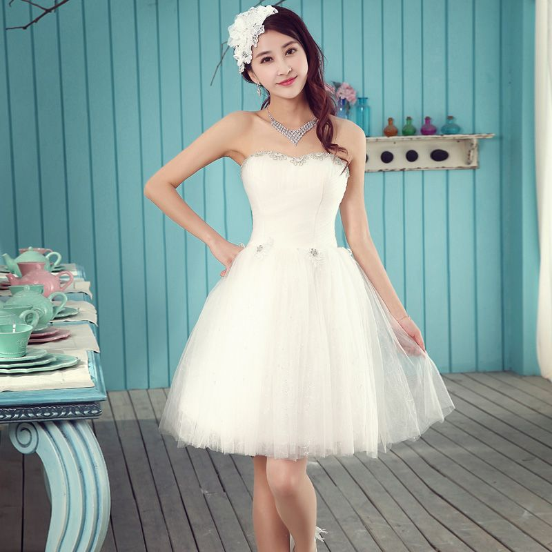 2017 new arrival short wedding dress white elegant fashion design ...