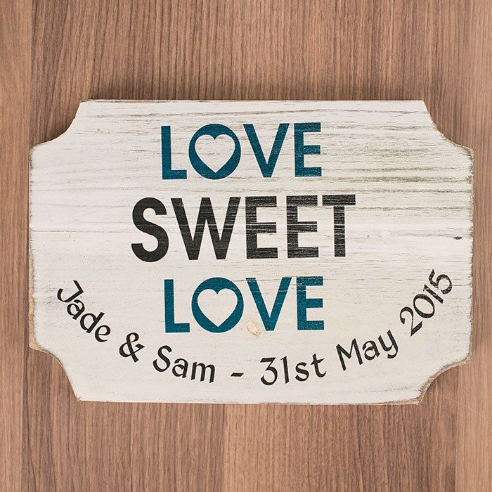 Personalised Love Sweet Love Hanging Wooden Sign | GettingPersonal.co.uk