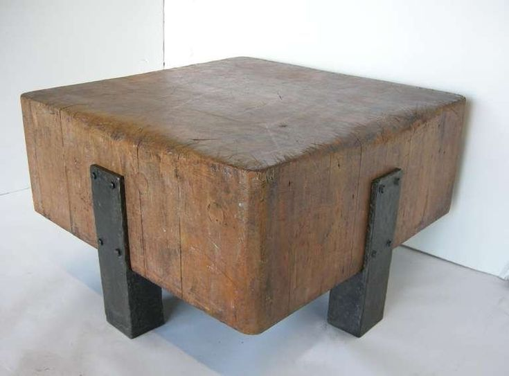 Antique butcher block and iron table modern industrial