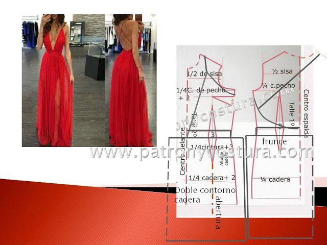 Vestido escote en V y espalda libre.Tema 194 (PATRÓN Y COSTURA ...