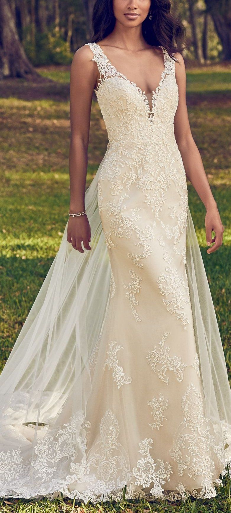 5bcf6bd226ce Maggie Sottero - BERNADINE, Beaded lace motifs dance over tulle in this sheath  wedding dress