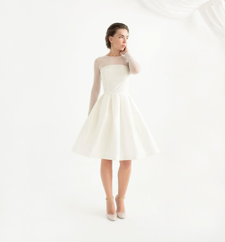 Off White Silk Taffeta Short Wedding Dress With Sleeves Etsy Civil Wedding Dresses Short Wedding Dress Wedding Dresses [ 1500 x 1397 Pixel ]