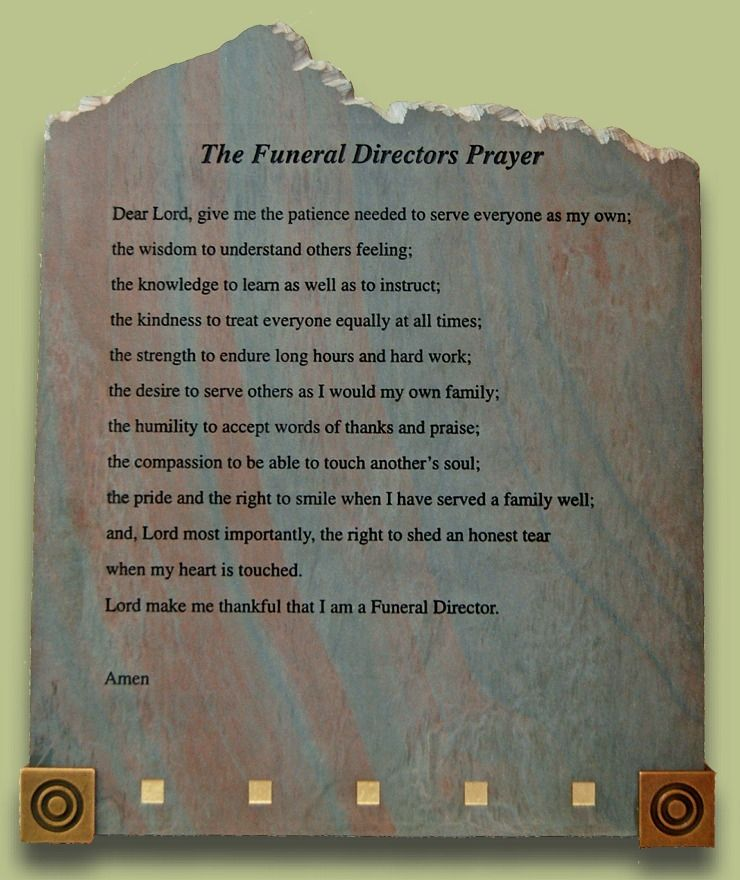 The Funeral Director's prayer. Heritage Funeral Homes
