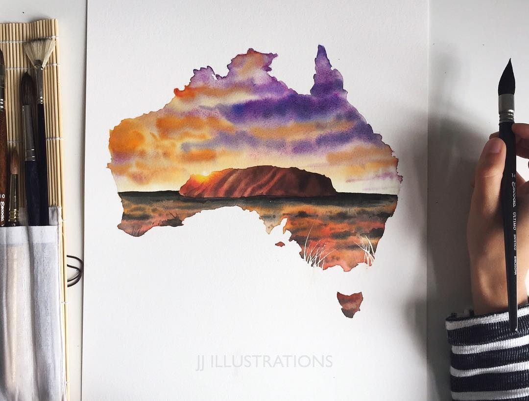 Australia Watercolor Art By Jj Jj Illus On Instagram Aquarelle