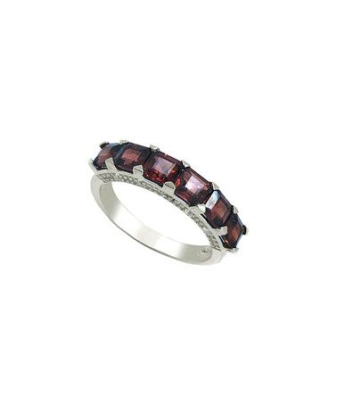 Another great find on #zulily! Garnet & White Topaz Asscher-Cut Band Ring #zulilyfinds