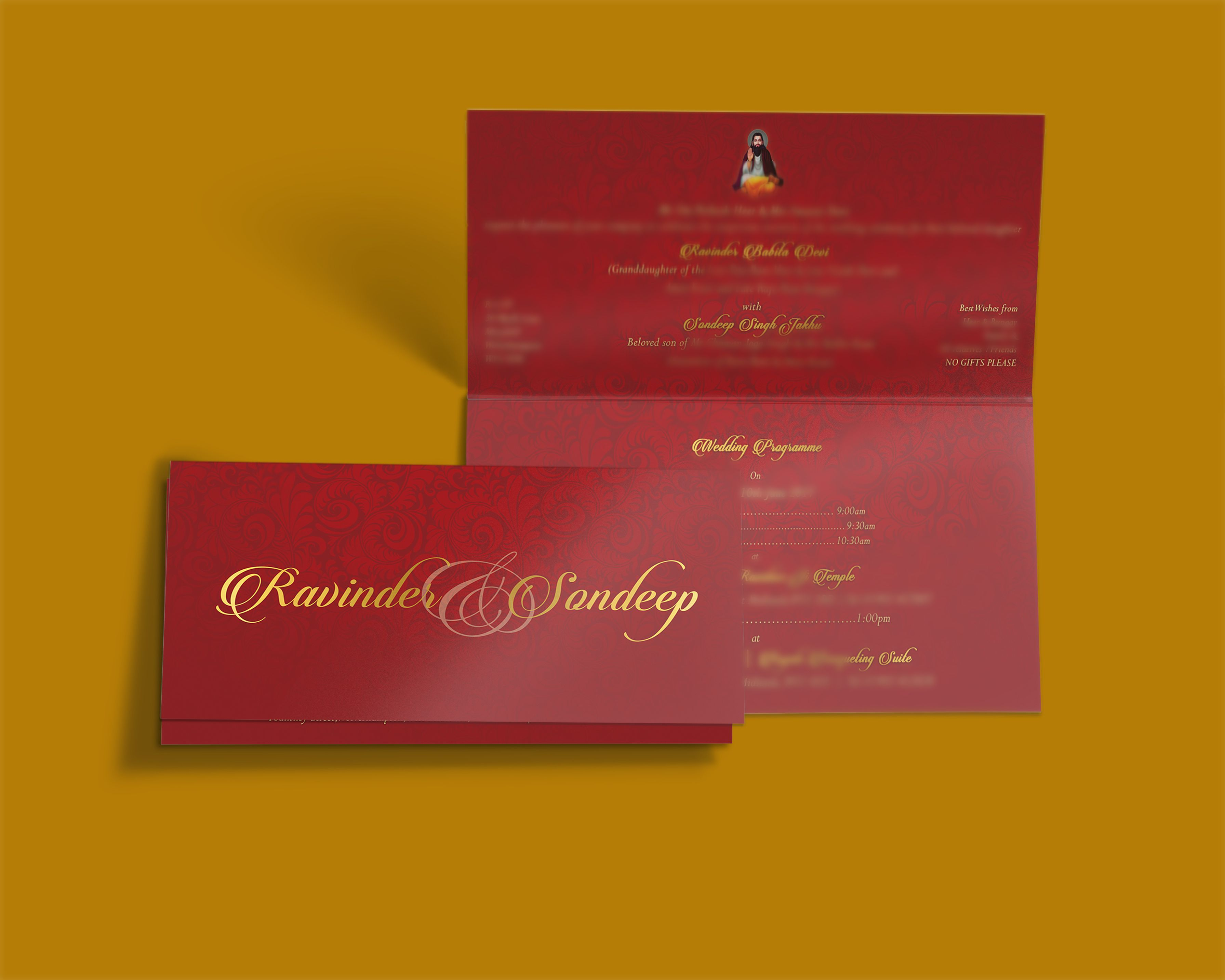 Red & Gold Tent Folded Wedding Invitation Card Exquisitely crafted ...