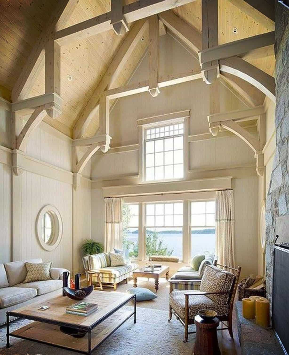 Living room with high vaulted ceiling with beams home - Living room ceiling beams ...