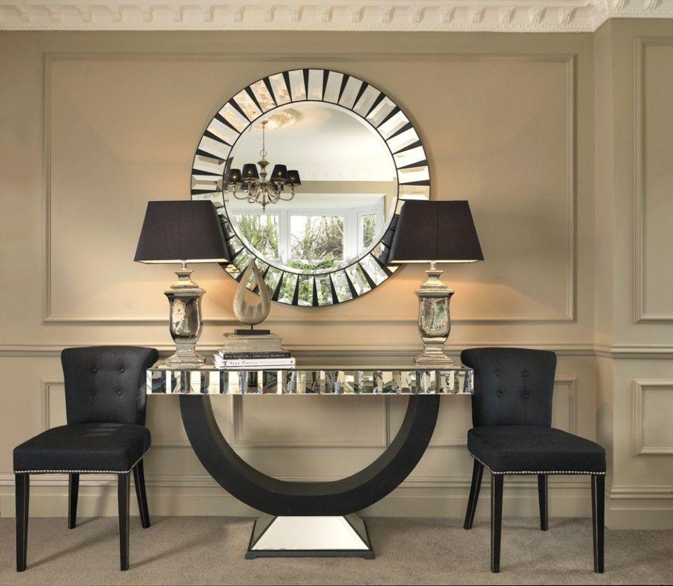 Black Orchid Quartz Mirrored Console Table